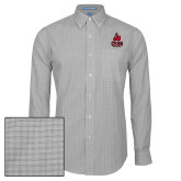 Mens Charcoal Plaid Pattern Long Sleeve Shirt-CSUN Matador
