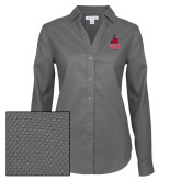 Ladies Red House Diamond Dobby Charcoal Long Sleeve Shirt-CSUN Matador