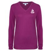 Ladies Deep Berry V Neck Sweater-CSUN Matador