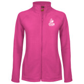 Ladies Fleece Full Zip Raspberry Jacket-CSUN Matador