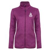 Dark Pink Heather Ladies Fleece Jacket-CSUN Matador