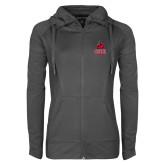 Ladies Sport Wick Stretch Full Zip Charcoal Jacket-CSUN Matador