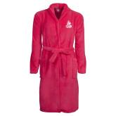 Ladies Pink Raspberry Plush Microfleece Shawl Collar Robe-CSUN Matador