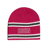 Pink/Charcoal/White Striped Knit Beanie-CSUN