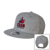 Heather Grey Wool Blend Flat Bill Snapback Hat-CSUN Matador