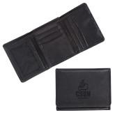Canyon Tri Fold Black Leather Wallet-CSUN Matador Engraved
