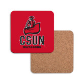 Hardboard Coaster w/Cork Backing-CSUN Matador