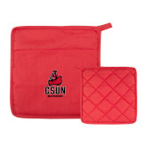 Quilted Canvas Red Pot Holder-CSUN Matador