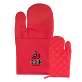 Quilted Canvas Red Oven Mitt-CSUN Matador