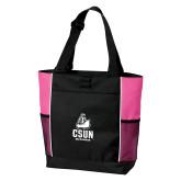 Black/Tropical Pink Panel Tote-CSUN Matador