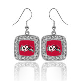 Crystal Studded Square Pendant Silver Dangle Earrings-CC with Thunderbird
