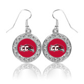 Crystal Studded Round Pendant Silver Dangle Earrings-CC with Thunderbird