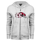 ENZA Ladies White Fleece Full Zip Hoodie-CC with Thunderbird