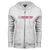 ENZA Ladies White Fleece Full Zip Hoodie-Casper College Thunderbirds