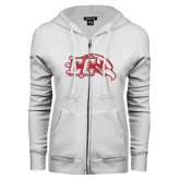 ENZA Ladies White Fleece Full Zip Hoodie-CC With Bird Head Red Glitter