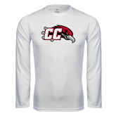 Performance White Longsleeve Shirt-CC with Thunderbird