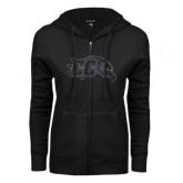 ENZA Ladies Black Fleece Full Zip Hoodie-CC With Bird Head Graphite Soft Glitter