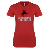 Next Level Ladies SoftStyle Junior Fitted Red Tee-Rodeo
