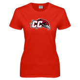 Ladies Red T Shirt-CC with Thunderbird