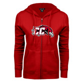 ENZA Ladies Red Fleece Full Zip Hoodie-CC with Thunderbird