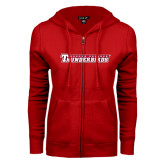 ENZA Ladies Red Fleece Full Zip Hoodie-Casper College Thunderbirds