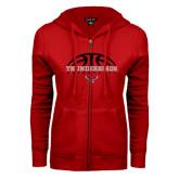 ENZA Ladies Red Fleece Full Zip Hoodie-Basketball on Top