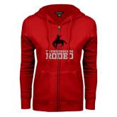 ENZA Ladies Red Fleece Full Zip Hoodie-Rodeo