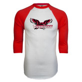 White/Red Raglan Baseball T-Shirt-Primary Mark