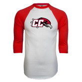 White/Red Raglan Baseball T-Shirt-CC with Thunderbird