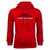 Red Fleece Hoodie-Basketball on Top