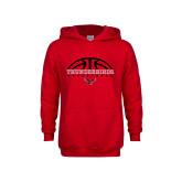 Youth Red Fleece Hoodie-Basketball on Top