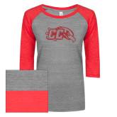 ENZA Ladies Athletic Heather/Red Vintage Triblend Baseball Tee-CC With Bird Head Red Glitter