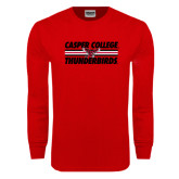 Red Long Sleeve T Shirt-Thunderbirds College Stacked