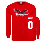 Red Long Sleeve T Shirt-Primary Mark, Custom Tee w/ Name and #