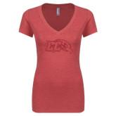 Next Level Ladies Vintage Red Tri Blend V-Neck Tee-CC With Bird Head Red Glitter
