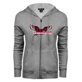 ENZA Ladies Grey Fleece Full Zip Hoodie-Primary Mark