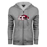 ENZA Ladies Grey Fleece Full Zip Hoodie-CC with Thunderbird