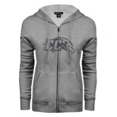 ENZA Ladies Grey Fleece Full Zip Hoodie-CC With Bird Head Graphite Soft Glitter