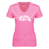 Next Level Ladies Junior Fit Ideal V Pink Tee-CC with Thunderbird