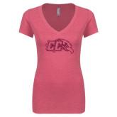 Next Level Ladies Vintage Pink Tri Blend V-Neck Tee-CC With Bird Head Hot Pink Glitter