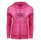 ENZA Ladies Fuchsia Fleece Full Zip Hoodie-CC With Bird Head Hot Pink Glitter