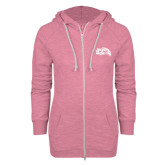 ENZA Ladies Hot Pink Marled Full Zip Hoodie-CC with Thunderbird