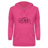 ENZA Ladies Hot Pink V Notch Raw Edge Fleece Hoodie-CC With Bird Head Hot Pink Glitter