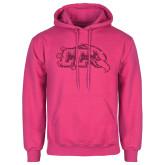 Fuchsia Fleece Hoodie-CC With Bird Head Hot Pink Glitter