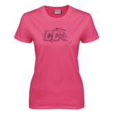 Ladies Fuchsia T Shirt-CC with Thunderbird