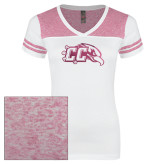 Ladies White/Bright Pink Juniors Varsity V Neck Tee-CC with Thunderbird