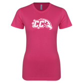 Next Level Ladies SoftStyle Junior Fitted Fuchsia Tee-CC with Thunderbird