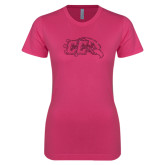 Next Level Ladies SoftStyle Junior Fitted Fuchsia Tee-CC With Bird Head Hot Pink Glitter