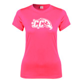 Ladies Performance Hot Pink Tee-CC with Thunderbird