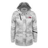 Ladies White Brushstroke Print Insulated Jacket-CC with Thunderbird